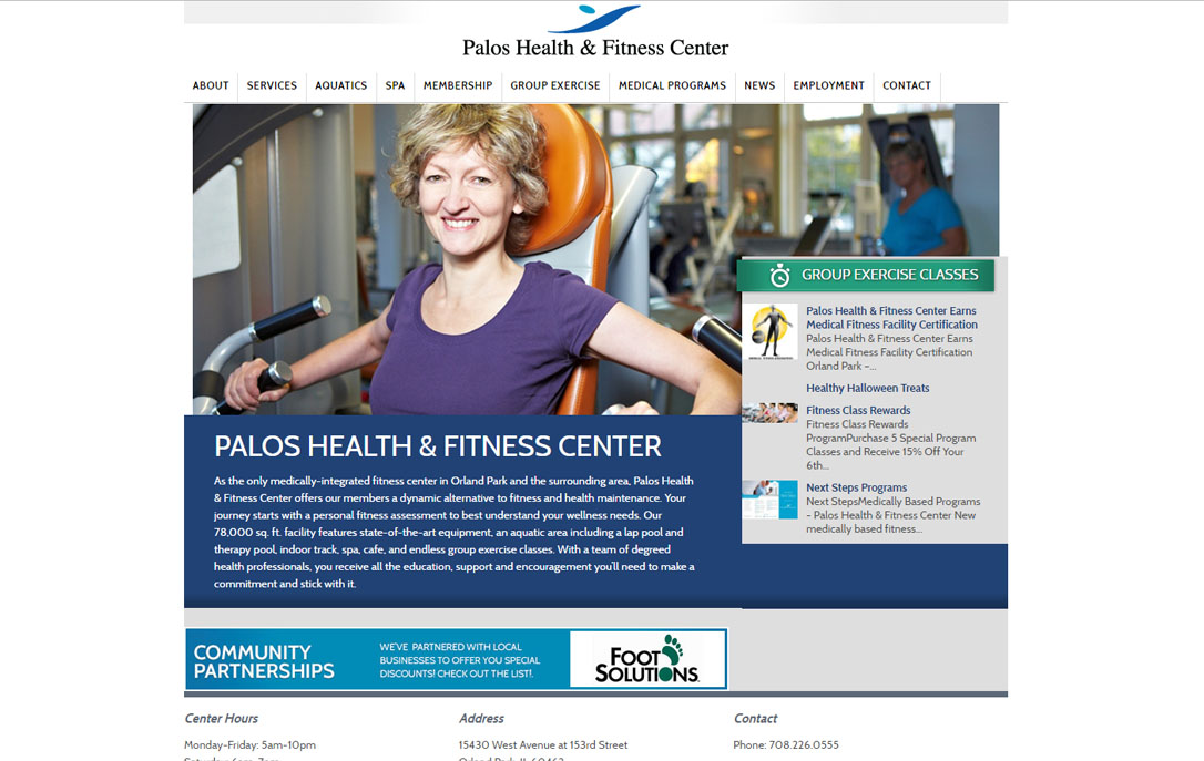 state of the art website design Palos Health & Fitness