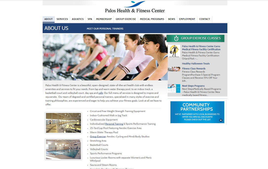 cutting edge website design Palos Health & Fitness