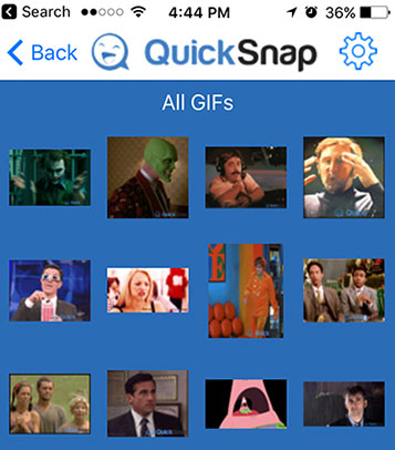 QuickSnap mobile animated GIF app