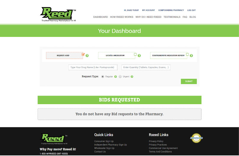 Rxeed dashboard