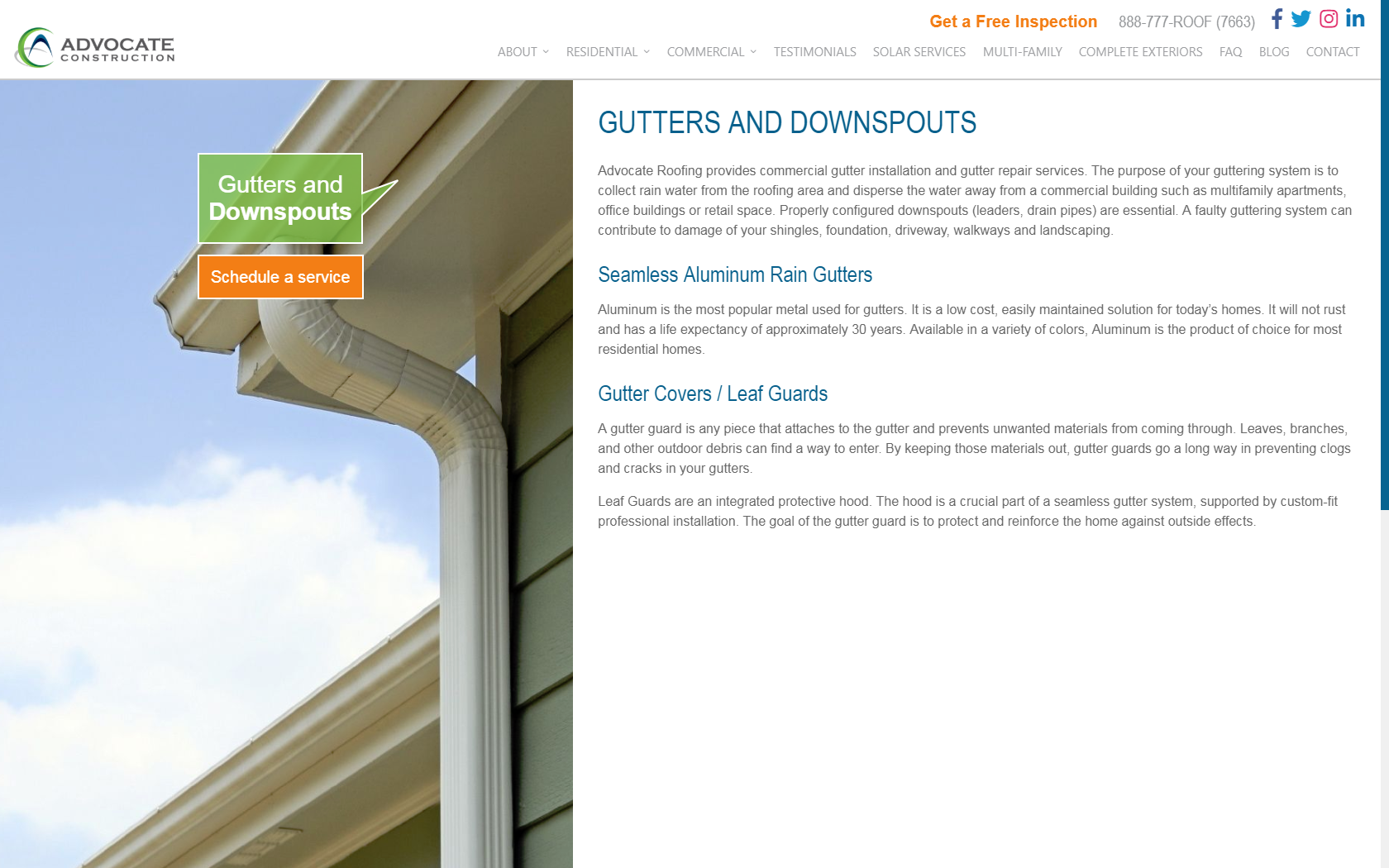 Advocate Gutters and Downspouts Website Design Layout