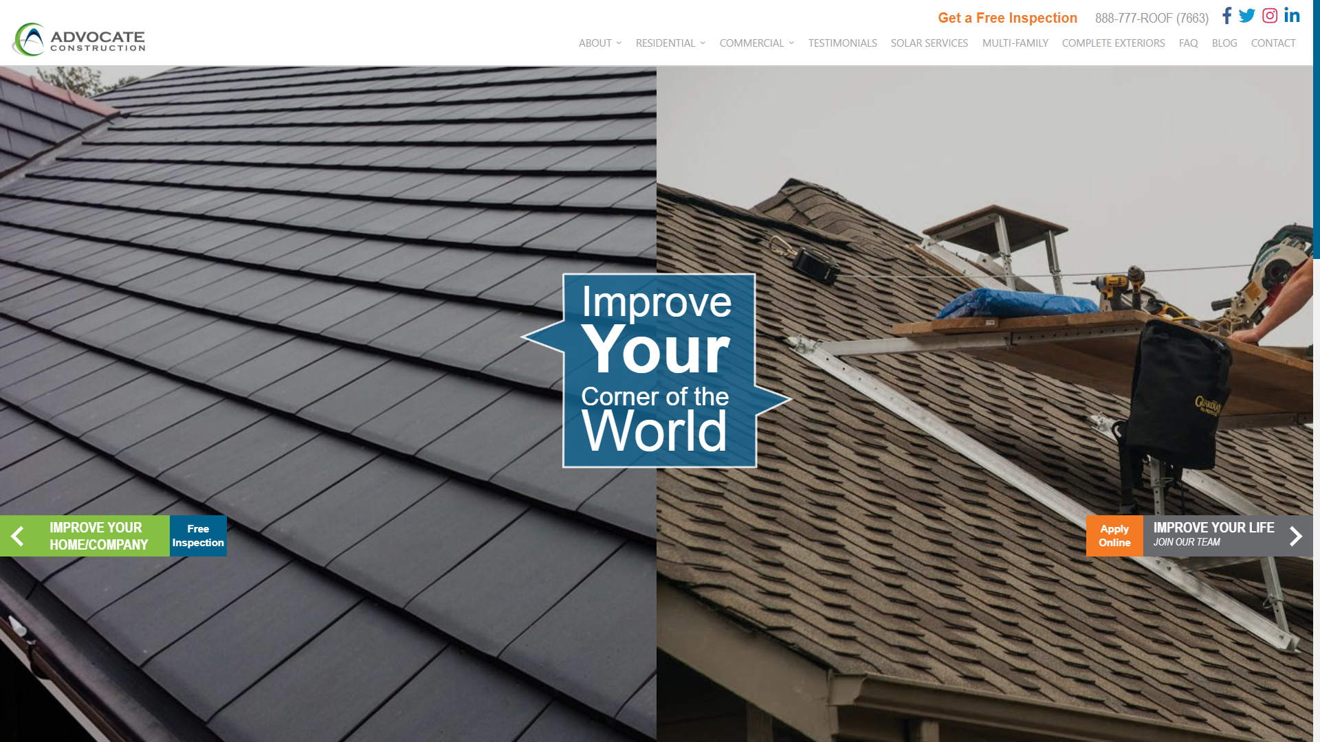 Advocate Construction's Home Page Website Design