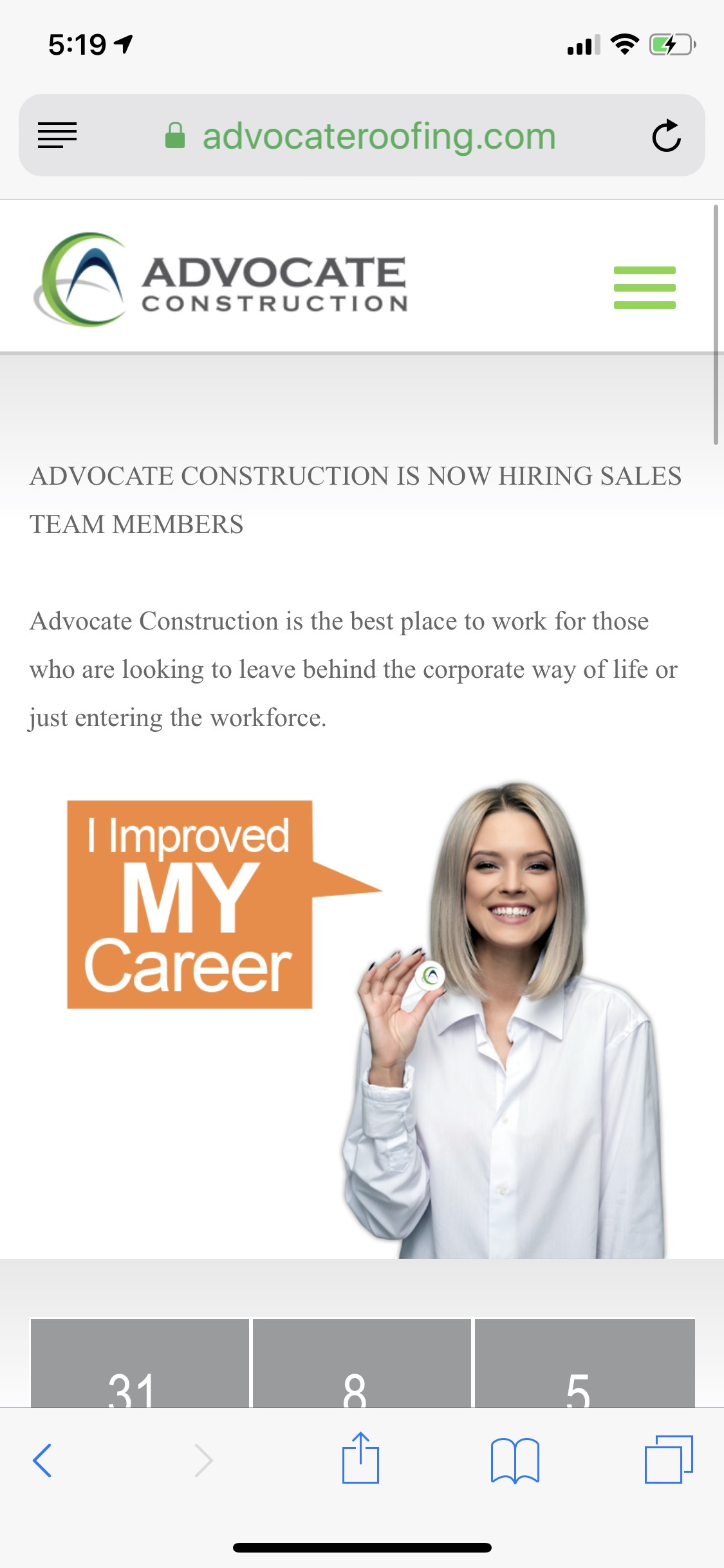 Advocate Mobile Career Page Design